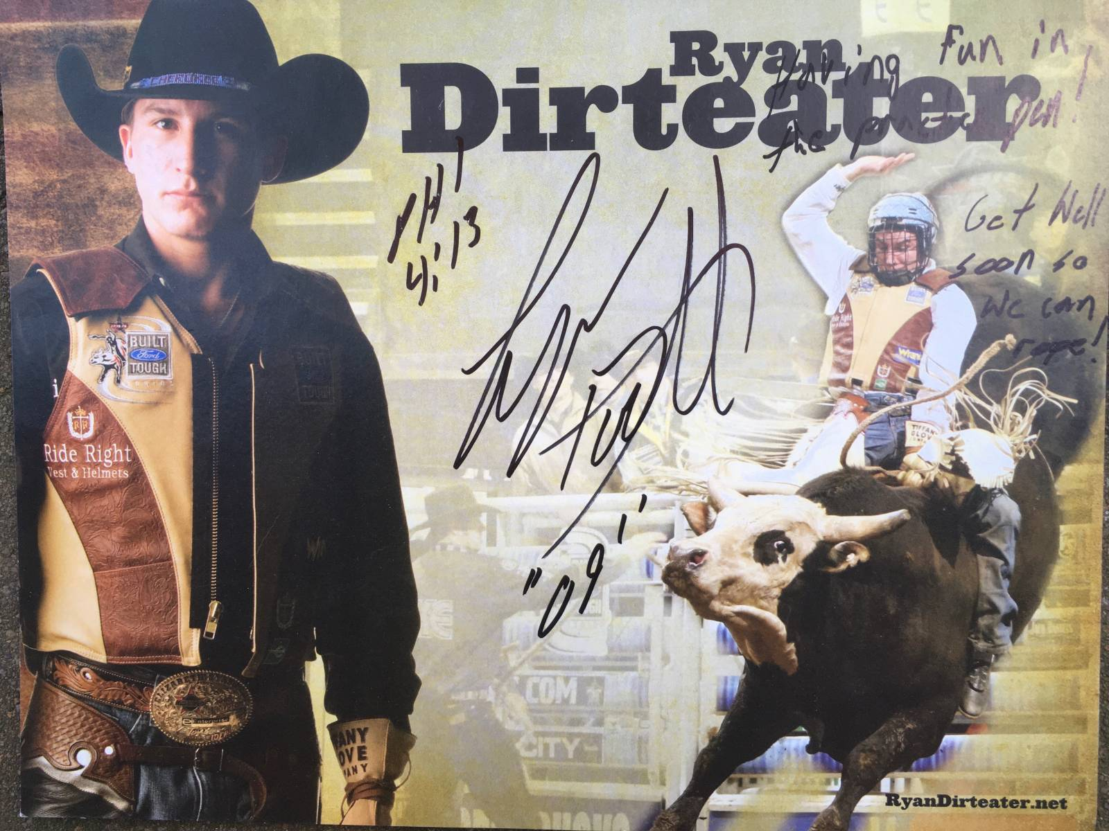 """My buddy, Ryan Dirteater, his rookie year in the PBR! If you look closely we share the same bible verse, Philippians 4:13, """"I can do ALL things through Christ that strengthens me""""."""