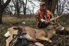 2018 was a special. Blake arrowed this buck in Kansas during the Kansas Gun Season. A couple of weeks earlier he harvested a nice buck with a bow during the Oklahoma Gun Season.