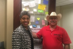Oklahoma Representative Regina Goodwin pictured here outside of her office at the Capitol. She is a lovely lady that freely gave of her time even though Blake's not one of her constituents.