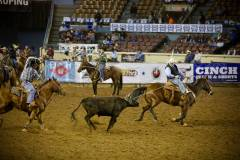 Action photos of Blake roping his steer at the National Finals of Team Roping Championships. 9/11
