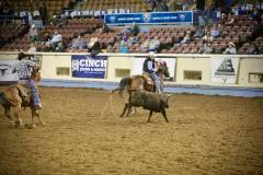 Action photos of Blake roping his steer at the National Finals of Team Roping Championships. 11/11